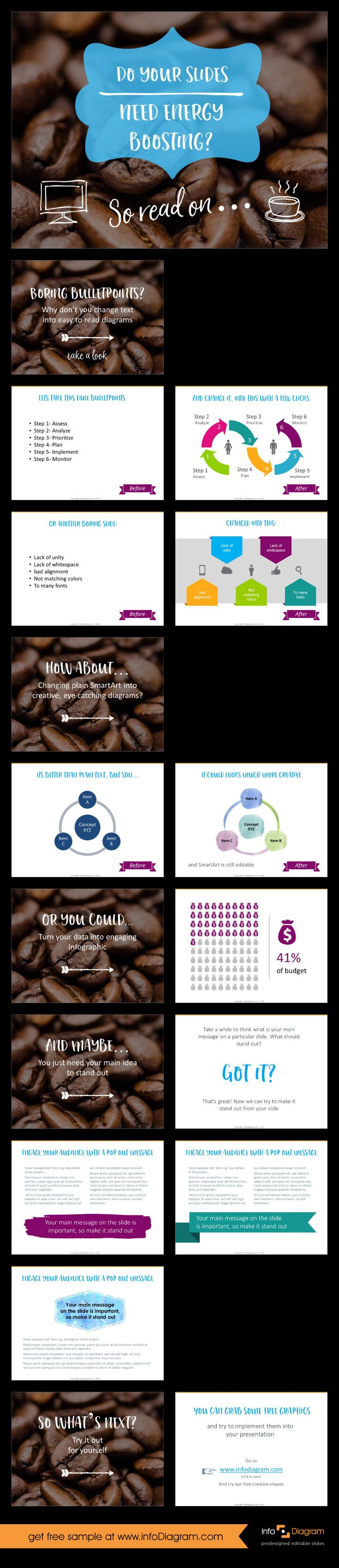 Boring presentation? To many bulletpoints? Do your slides need energy boosting? See what to change and how to get creative look