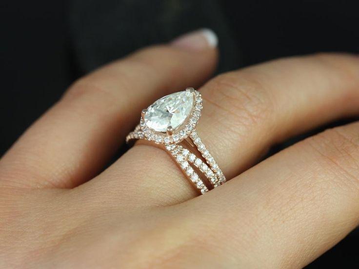 Rosados Box Tabitha 10x7mm & Skinny Lima Rose Gold Pear FB Moissanite and Diamonds Halo Wedding Set