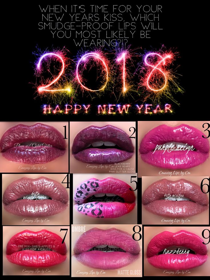 New Years Lips New Year's Eve makeup looks New Years LipSense Glitter Fun Kiss these lips at Midnight Senegence 2018 Emazing Lips by Em