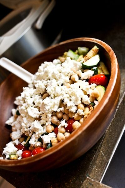 Greek Millet Summer Salad with zucchini, cherry tomatoes, feta cheese ...