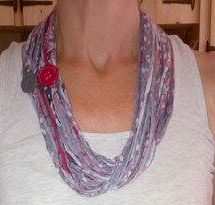 T-shirt scarf/necklace with button accent.