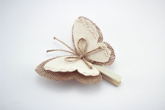 Clothes Pin with Butterfly Wings, Burlap Butterfly Wings, White Cottage Chic Wedding Decor, Rustic Home Decor, Burlap Ornaments