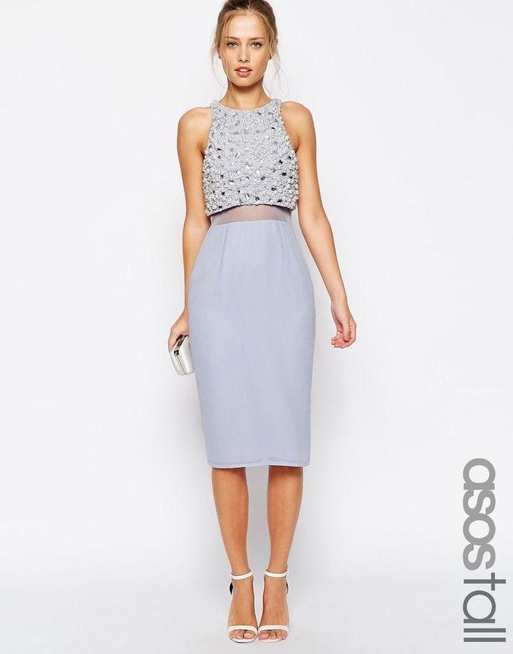 ASOS Tall Plus Size Pearl Embellished Crop Top Midi Dress UK 20 -EU 48-US 16