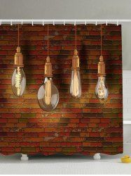 Water Resistant Hanging Bulbs Polyester Shower Curtain - BROWN