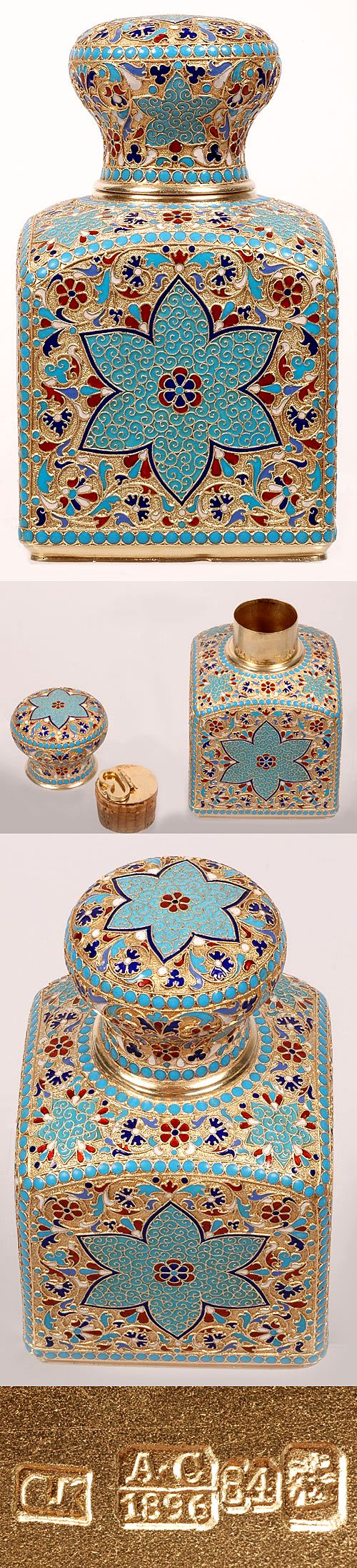 A Russian gilded silver and cloisonne enamel tea caddy by Gustav Klingert, Moscow, circa 1896, the sides decorated with large turquoise flowers against gilded, stippled grounds covered with scrolling enameled foliage within a turquoise beaded borders.