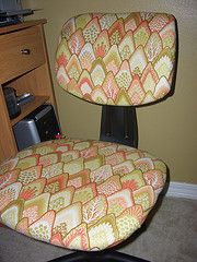 I'm thinking of doing this for our kitchen chairs. They're still in good condition and pretty up to date as far as style, along with the table, but oh my, the cushions on those chairs have seen better days!