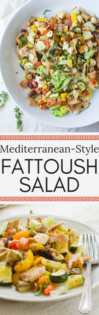 Lebanese Fattoush - (an interpreted copy cat) this is a more Mediterranean-Style Fattoush Salad recipe has the best way to cook eggplant. Learn how to make fattoush as a great vegetarian or vegan main dish or fresh side dish to grille