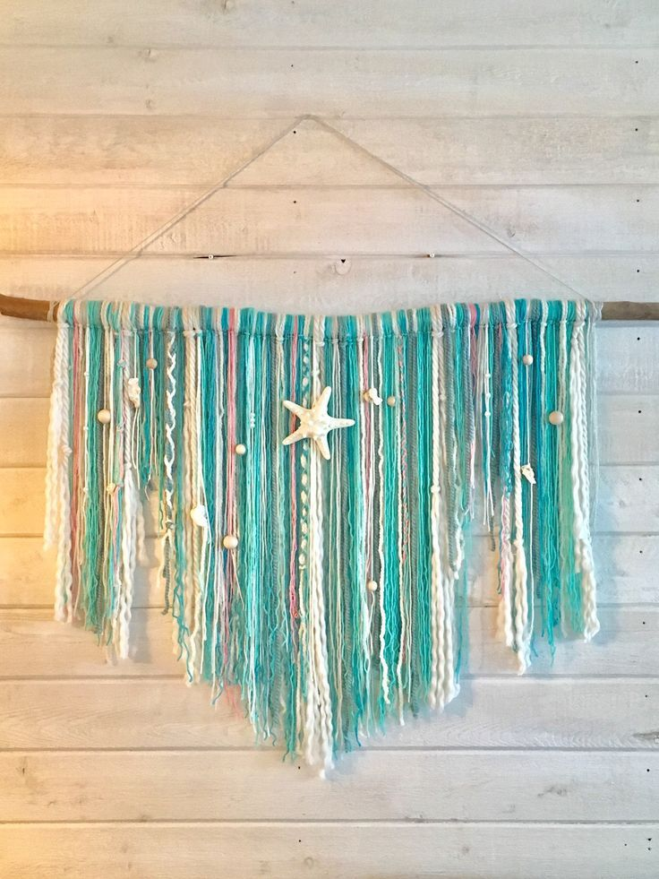 Large Beach Wall Hanging Beachy Blue Wall Hanging Large Etsy Diy Wall Hanging Yarn Yarn Wall Hanging Yarn Wall Art