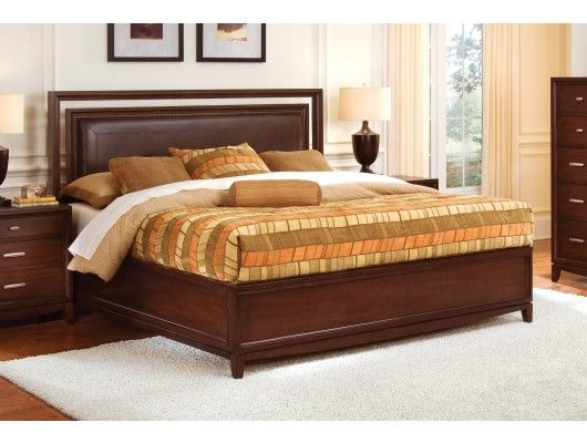 wynwood henley leather upholstered panel bed in russet brown cherry finish - Wynwood Furniture