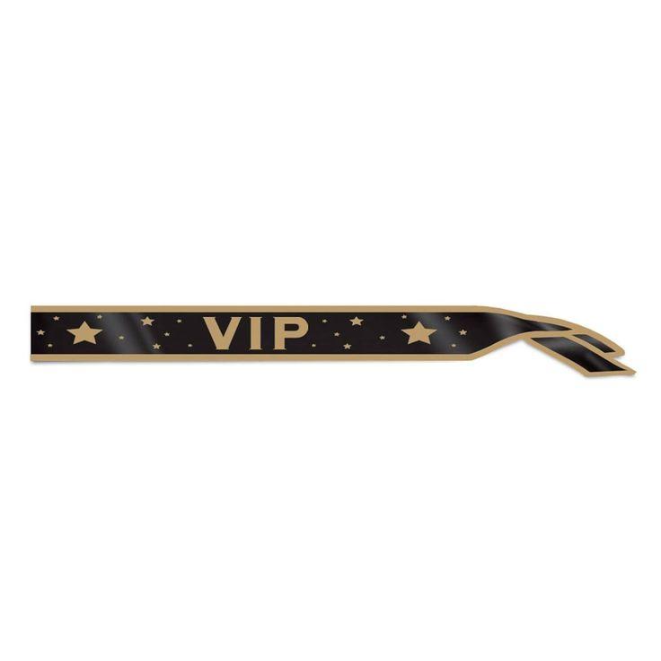 Club Pack of 6 Black and Gold VIP Satin Sash