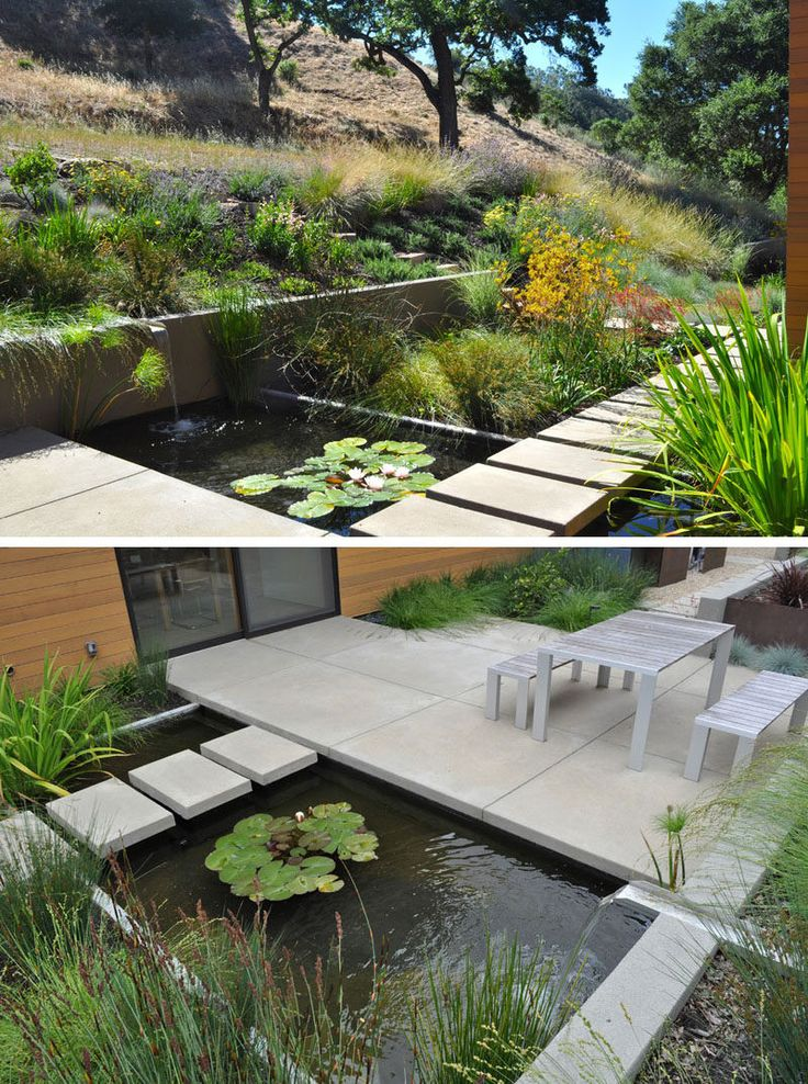 This small pond with a water feature has a path that leads from the garden, over the pond and to the outdoor dining area.