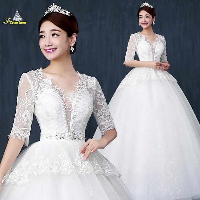 V Neck Wedding Dress, Bride