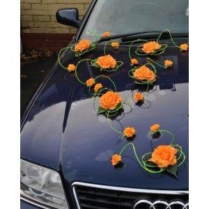 Décoration voiture mariage vert et orange