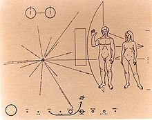 The Pioneer plaques are a pair of gold-anodized aluminium plaques which were placed on board the 1972 Pioneer 10 and 1973 Pioneer 11 spacecraft, featuring a pictorial message, in case either Pioneer 10 or 11 was intercepted by extraterrestrial life.