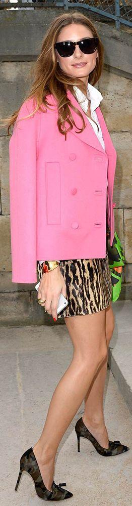 Olivia Palermo Street Style: Pink Blazer, Animaö Print Skirt, Gianvito Rossi Pumps