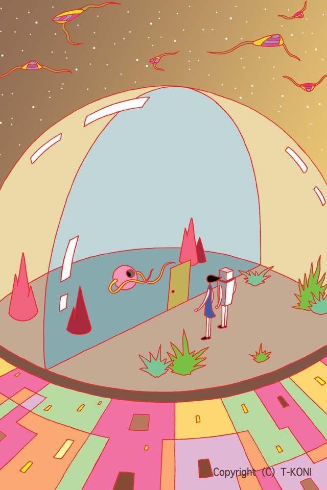 ドーム・球形ドーム・透明ドーム・未来都市・未来の住居 - iPhone用壁紙イラスト