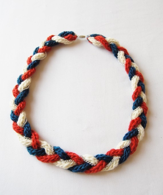 Plaited Wool Necklace in Garnet, Creme & Cobalt $30