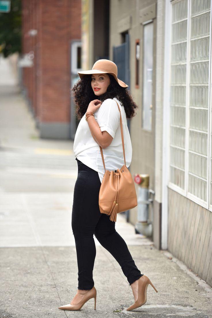 Felt hat, oversize blouse, black skinnies