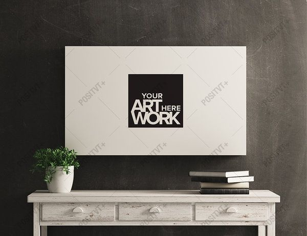 Canvas Poster Mockup White Wood Distressed Console by positvtplus.deviantart.com on @DeviantArt