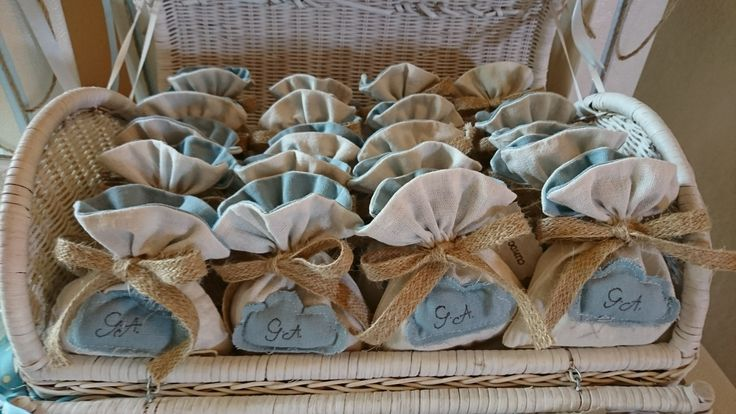 Favours lay out everyone will want to copy. Off white and powdery blue for young boys baptism