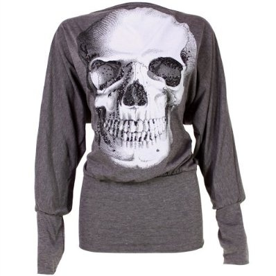 Ladies Batwing Top Long Sleeved Tunic Jumper with Skull Print - Grey £9.99