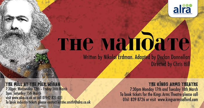 Flyer for the ALRA Drama School production of The Mandate