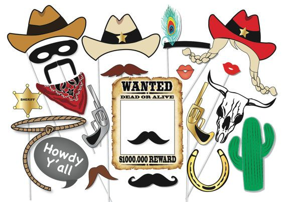 Cowboy or cowgirl Photo Booth Party Props Set - 25 Piece PRINTABLE - Wild west, Western party, cowgirl, rodeo Photo Booth Props