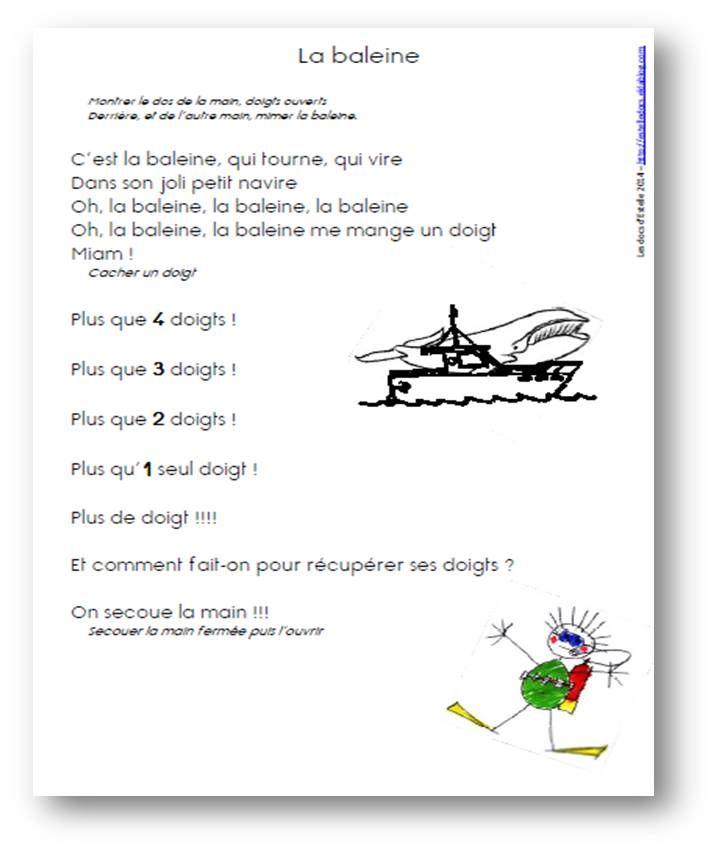 Comptine La baleine - Les docs d'Estelle
