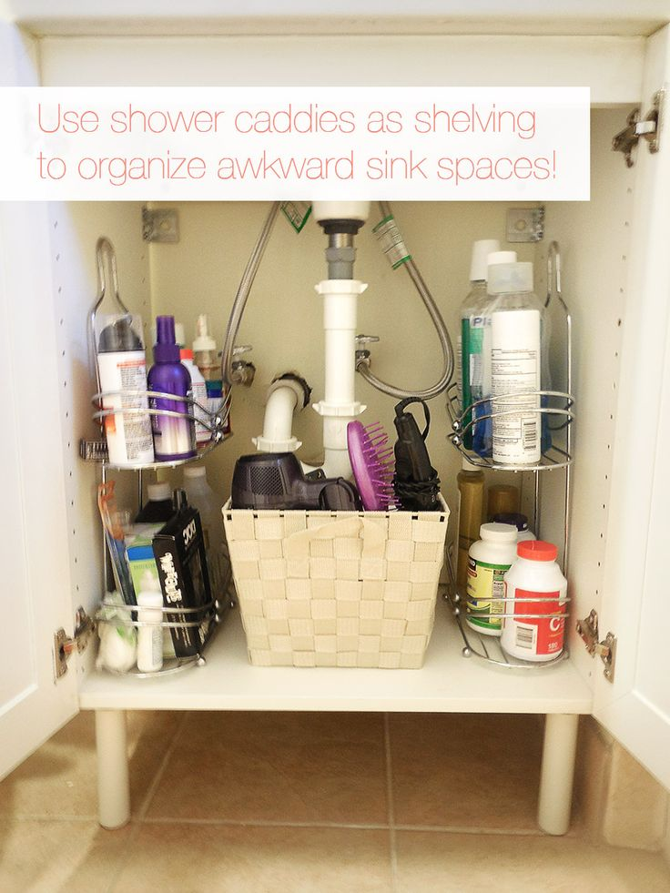 If The Cabinet Space Under Your Sink Makes It Awkward To Organize Try Using Shower Small Bathroom Decoratingsmall