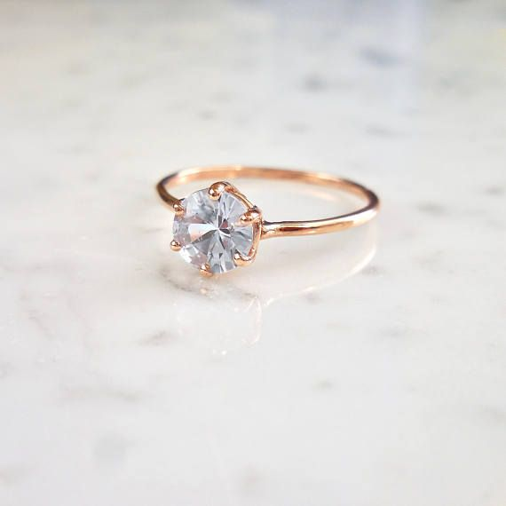 Rose Gold Sapphire Ring, Round Sapphire, Light Blue Sapphire, Stacking Sapphire Ring, Blue Sapphire, Custom Orders, 6 Prong Setting A super cute and unique 6 prong Sapphire ring set in 14k Rose Gold. A great buy for someone with a September birthday. This ring is the perfect solitary