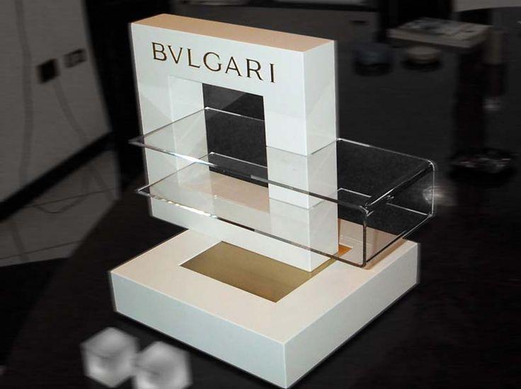 Espositore da banco display per occhiali in legno, plexiglass e metallo satinato