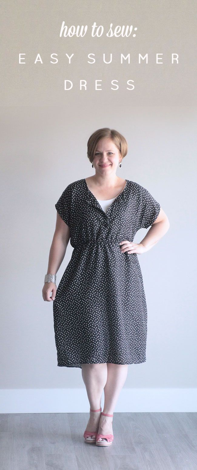 easy sewing tutorial for this simple DIY dress made from a free tee pattern