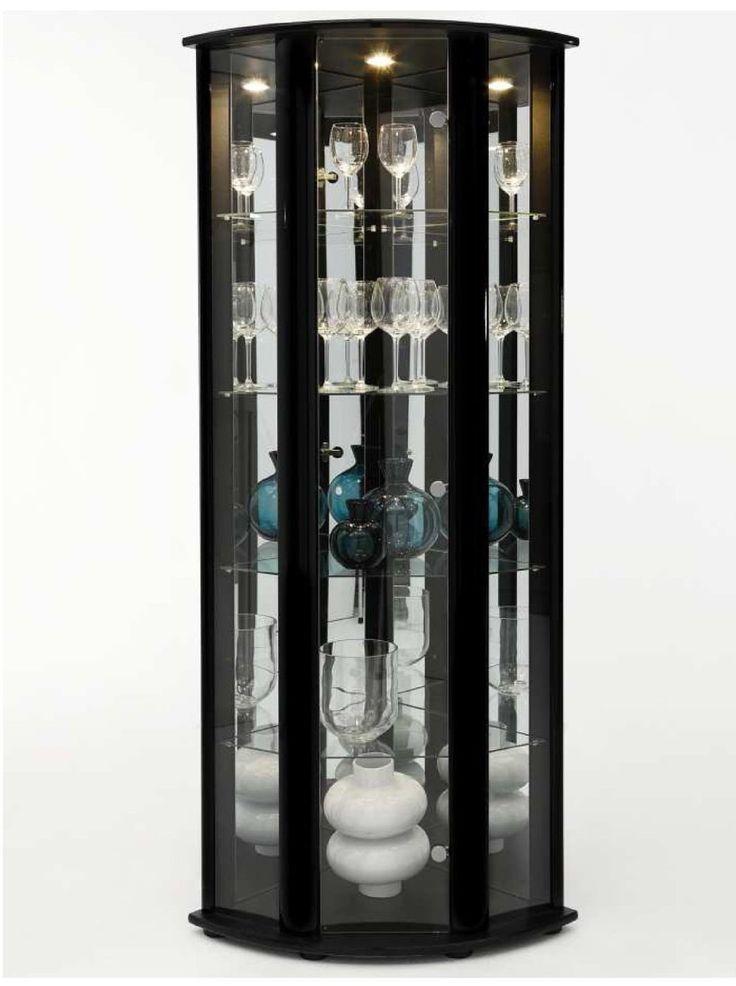 Theta curved corner display cabinet gloss black corner for Black glass kitchen cabinets