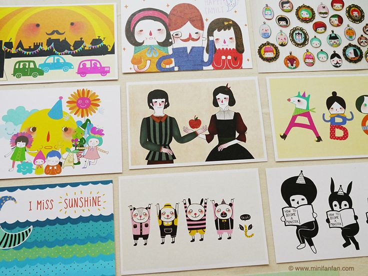 Set of 5 Minifanfan Illustration Postcard Set  Pick by minifanfan, $10.00
