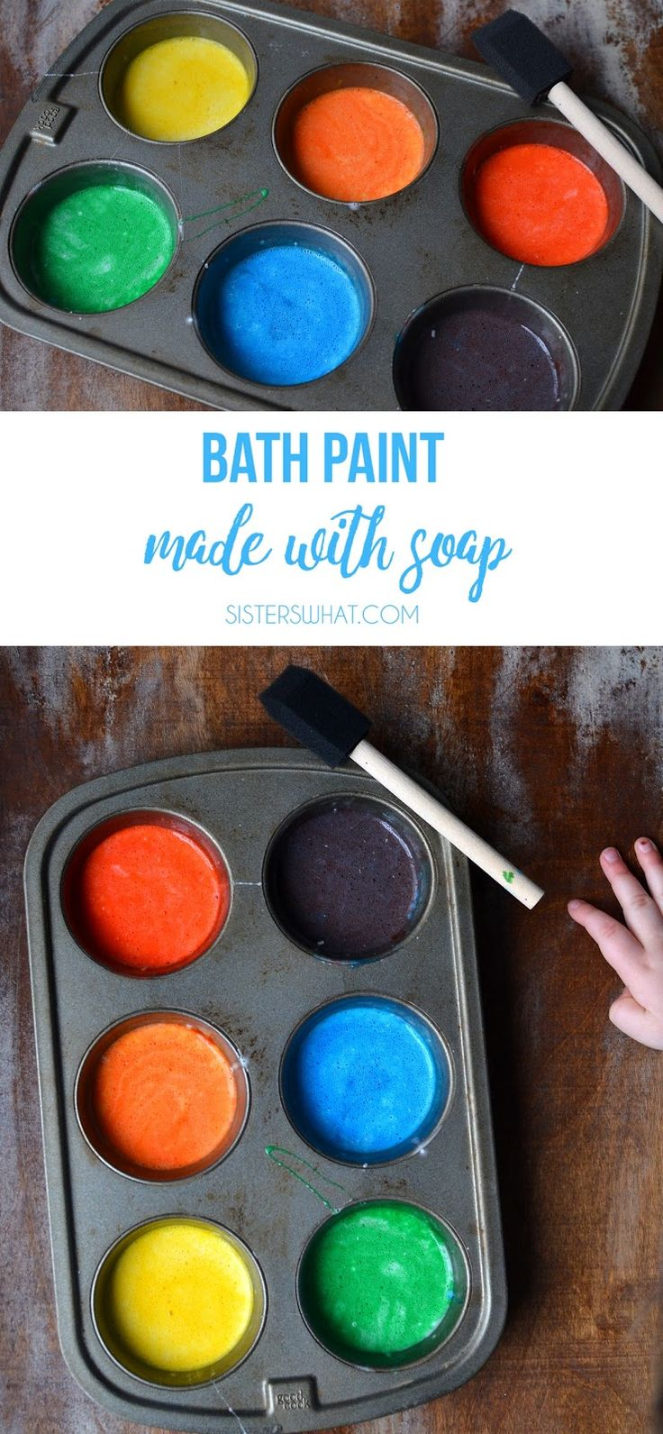 Bath paint perfect for rainy days or summer break and it's made with soap so easy clean up!