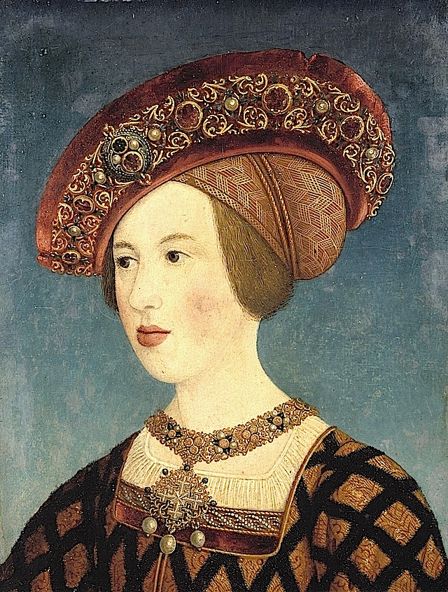 1519- Mary of Hungary by Hans Maler zu Schwaz -EXCERPT:'This portrait of Queen Mary of Hungary shows late Middle Ages style. The dress may be a cotehardie, a fitted one-piece garment, literally located under a gown - a garment worn over a dress. Her hair is covered by a caul, a transitional headdress worn between the late Middle Ages and early Renaissance.'