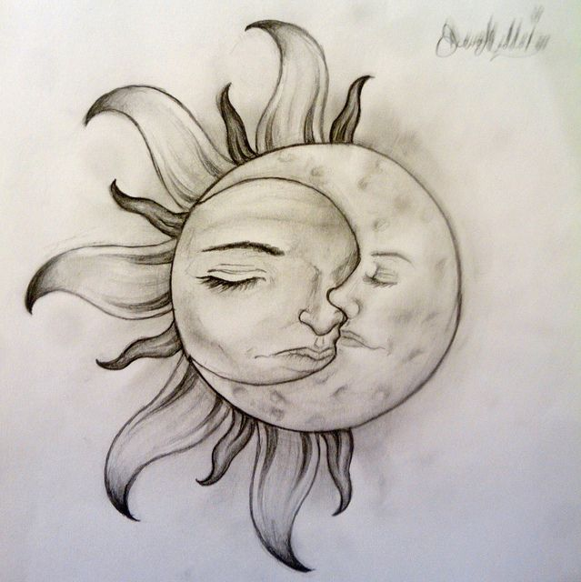 Sun And Moon Tattoo Designs | sun and moon tattoo design. would love to have this without the faces though.