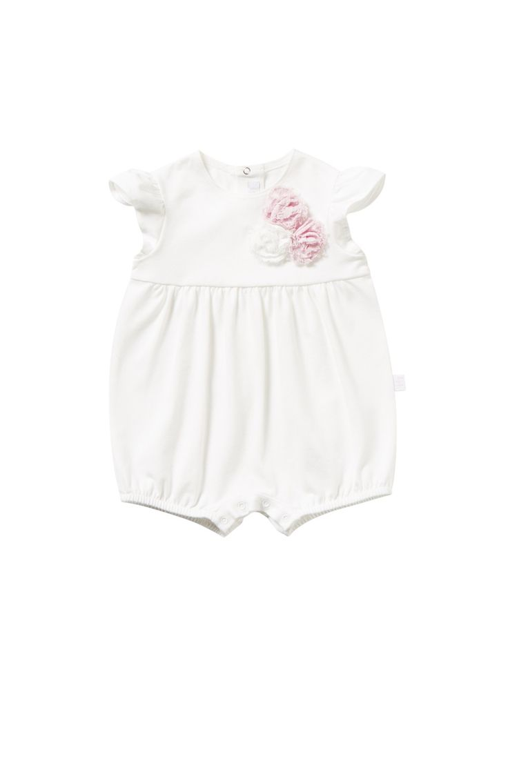 Italian Luxury SHORT WHITE STRETCH JERSEY PLAYSUIT WITH FLOWERS   Il Gufo