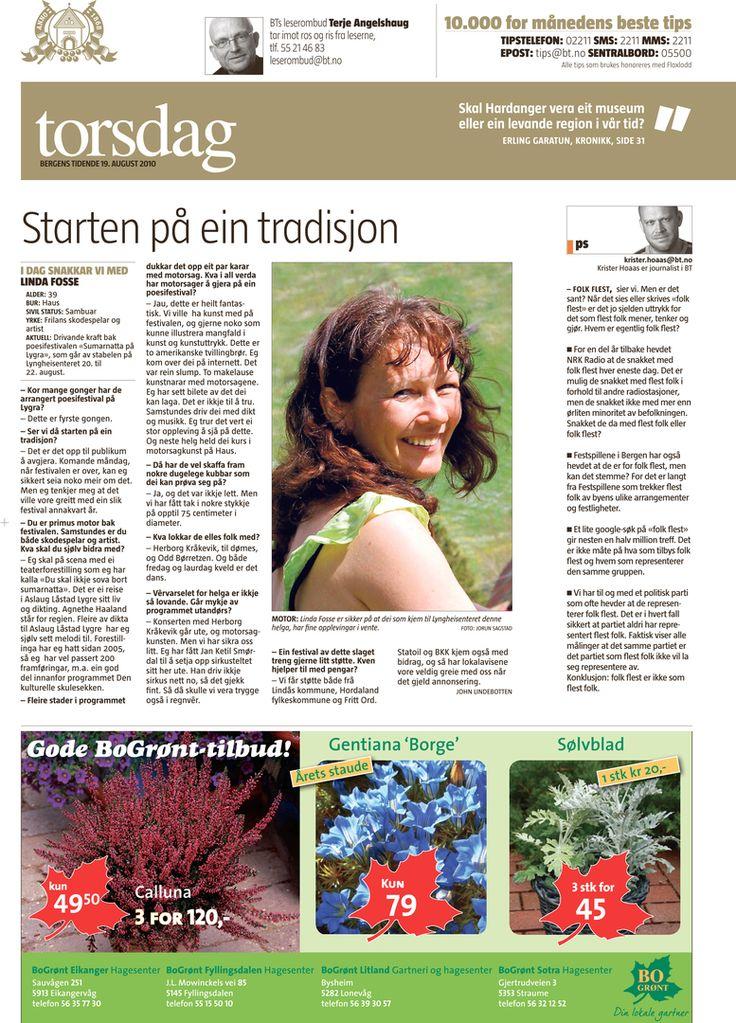 """Baksideintervju i BT med Linda Fosse i samband med """"Sumarnatta på Lygra"""""""
