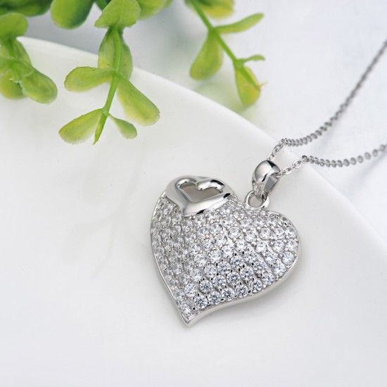 Vanguard design heart pendant silver jewelry for women N-0042