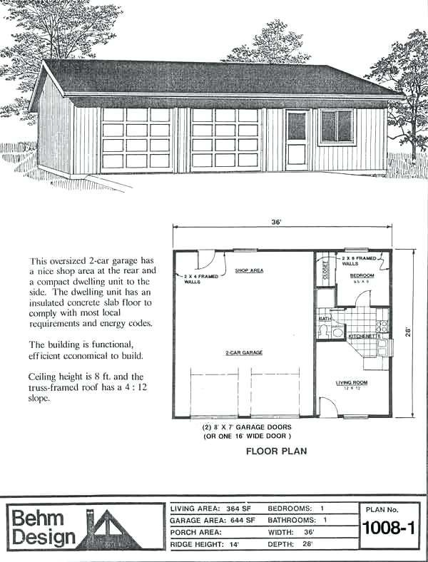 Attached 2 Car Garage Plans Floor Plan 2 Car Garage W Attached 1 Bdrm Apt Design Garage Plan No Attached Garage Shop Plans Garage Plans Garage Apartment Plans