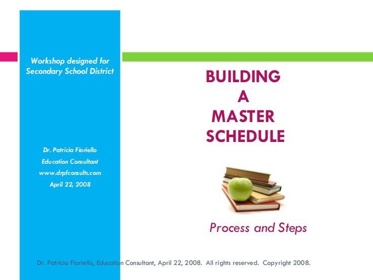 building-a-master-schedule-dr-patricia-fioriello-april-2008-presentation by DRPF Consults via Slideshare