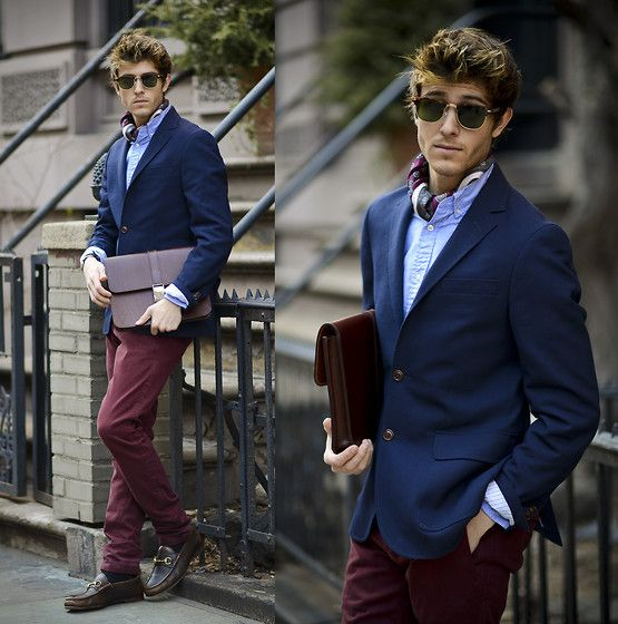 Blazer, Men In Cities Cravat / Ascot, Holdall & Co Satchel, Burgundy Jeans, Gucci Loafers