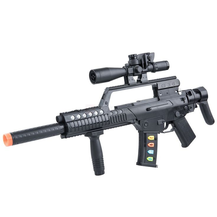 Electronic Toy Machine Gun Toy Gun for Kids. Electronic shooting sounds: bombs, sirens, bugle call, and machine guns Accessories are removable and very easy to assemble. Made of durable material, this gun is ready for some serious pretend-play combat.