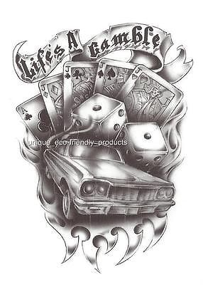 CAR DICE CARDS LIFES A GAMBLE #9665 temporary Tattoo