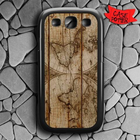 Old World Map Wood Samsung Galaxy S3 Black Case