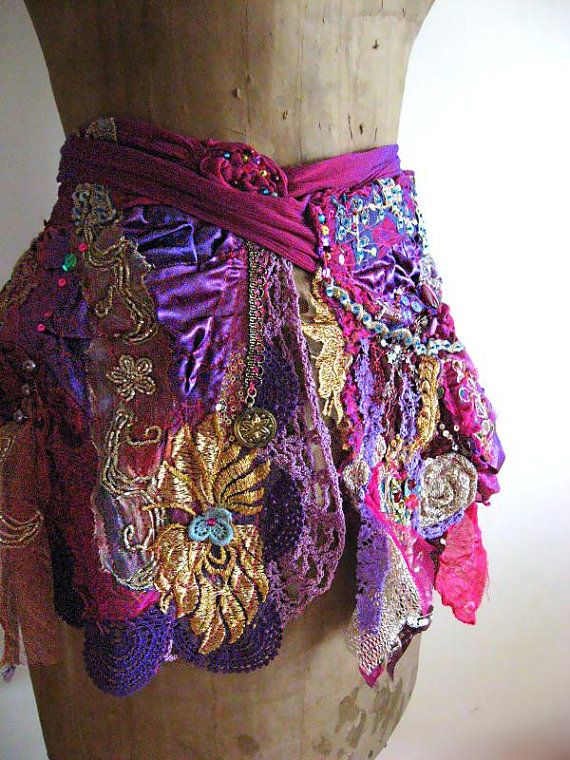 Bohemian Gypsy Skirt Mini Wrap Purple Vintage by AllThingsPretty, $245.00