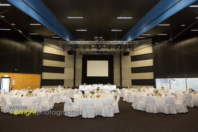 The Freycinet room set up for a wedding reception.  See how the tables line up with the bridal table.  There is uniformity.  Download our tips on setting a table.