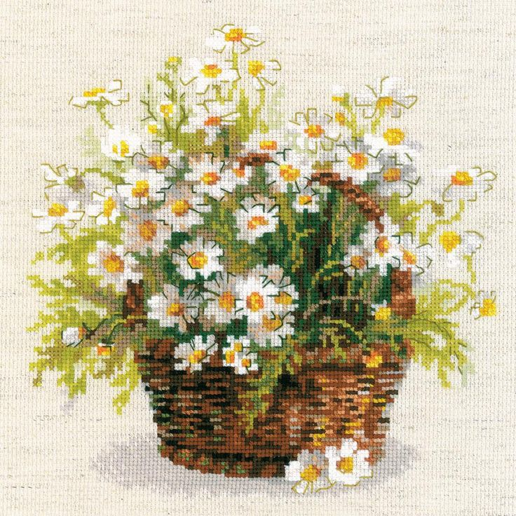 "Russian Daisies Counted Cross Stitch Kit-9.75""X9.75"" 14 Count"