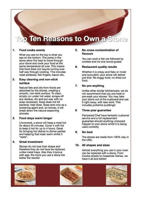Top 10 Reason to Own a Pampered Chef Stone